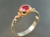Spinel ring in 14K white, yellow and rose gold, hand engraved