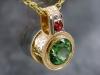 Tourmaline pendant with diamonds
