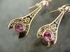 Pink sapphire enamel earrings