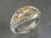 Fancy colored diamond ring with hand engraved wheat pattern