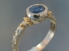 18K white gold sapphire ring with filigree and hand engraving