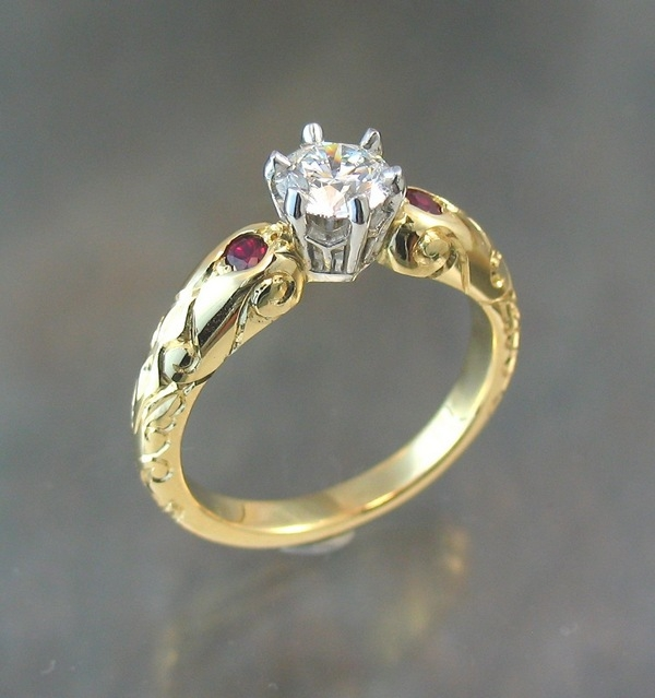 diamond solitaire with rubies