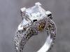 Princess diamond hand engraved paltinum diamond ring