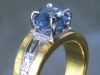 Sapphire and art deco style 18K and platinum ring setting