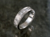 Gent's platinum diamond band with scroll pattern hand engraving