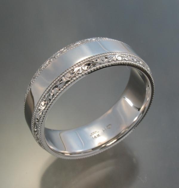 Beveled edge band with engraved border