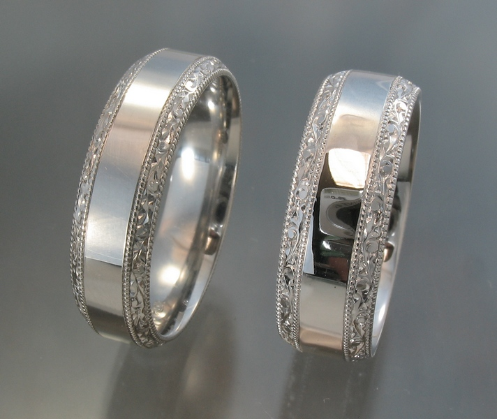 Beveled edge bands with hand engraved border