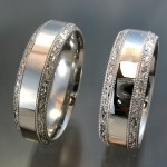 Beveled edge bands with hand engraved pattern